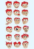 Expression face cartoon set — Stock Vector