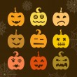 Set of Halloween pumpkin with different expressions — Stock Vector #53563719