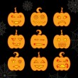 Set of Halloween glowing pumpkin with different expressions — Stock Vector #53563721