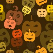 Halloween seamless pattern with pumpkins — Stock Vector