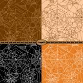 Set of Halloween spider web seamless pattern — Stock Vector