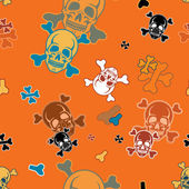 Halloween seamless pattern with skulls and crossbones — Stock Vector