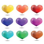 Bright multicolored hearts, template for Valentine's Day and we — Stock Vector