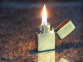Silver metal lighter — Stock Photo