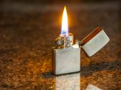 Silver metal lighter — Stock Photo