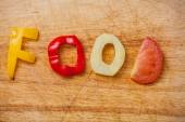 Food word formed from vegetables — Stock Photo