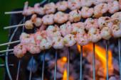 Heerlijke garnaal spuwen op grill — Stockfoto
