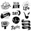 Set of hipster vintage retro labels. Hipster style hand drawn elements for design. Quotes and icons. — Stock Vector #62534747
