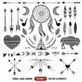 Hand drawn vector tribal elements. Aztec logos and badges. — Stock Vector