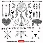 Hand drawn vector tribal elements. Aztec logos and badges. — Stok Vektör