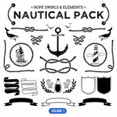 Pack of nautical elements. — Stock Vector