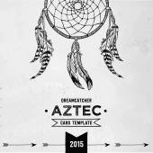 Hand drawn vector dreamcatcher illustration. Aztec c style card template. — Cтоковый вектор
