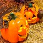 Jack o lanterns Halloween pumpkin face. — Stock Photo #58448899