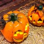 Jack o lanterns Halloween pumpkin face. — Stock Photo #58448949