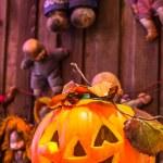 Jack o lanterns Halloween pumpkin face. — Stock Photo #58448981
