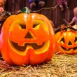 Jack o lanterns Halloween pumpkin face. — Stock Photo #58449015