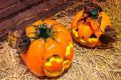 Jack o lanterns Halloween pumpkin face. — Stock Photo