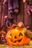 Jack o lanterns Halloween pumpkin face. — Stockfoto