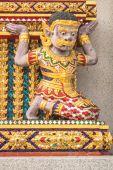 Giant  statue on pagoda wall. — Stock Photo