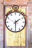 Clock on wood wall. — Стоковое фото