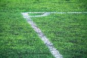 Corner, field line and artificial grass. — Stock Photo
