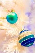 Christmas ornaments on White Christmas tree. — Stock Photo