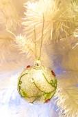 Christmas ornaments on White Christmas tree. — Foto de Stock