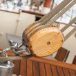 Old sailing boat detail. pulleys and ropes — Stock Photo #52005551