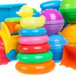 Close up of baby toys collection isolated on white — Stock Photo #53187931