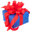 Blue gift box with red ribbon and bow isolated on white — Stock Photo #54480783