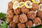 Close up of party platter with meatballs. Food catering — Stock Photo