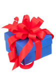 Blue gift box with red ribbon and bow isolated on white — Stock Photo