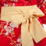 Yellow ribbon on Japanese traditional clothes of Kimono, Yukata — Stock Photo #54913177