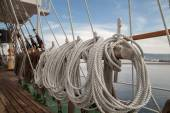 Ropes on an old vessel, sailing  — Stock Photo