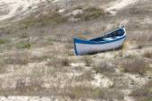 Old wooden boat on the dry shore — Stock Photo