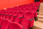 Empty red cinema or theatre seats — Stock Photo