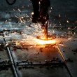 Industrial Laser cutting metal with sparks — Stock Photo #69739243