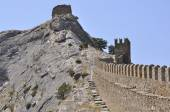 Mountain fortress (Genoese Fortress) — Stock Photo