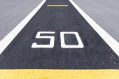 Fifty metre sign on the road. — Stock Photo