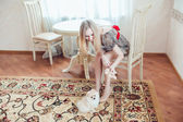 Beautiful Blonde Woman with Her Dog in a Beautiful Interior — Stock Photo