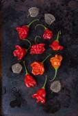 Bell shaped capsicum on a rustic metal tray — Stock Photo