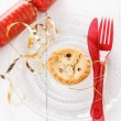 Single Christmas fruit mince pie over white background — Stock Photo #55122803