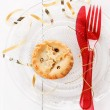 Single Christmas fruit mince pie over white background — Stock Photo #55122847