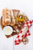 Freshly baked Pane Di Casa bread rolls — Stock Photo