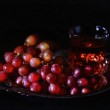 Vintage style image of red grapes in a silver antique tray — Stock Photo #60632241