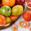 Colorful fruits over white wooden background — Stock Photo #61914777