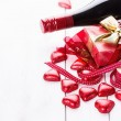 Valentine day still life with chocolates and wine — Stock Photo #62051555