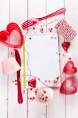 Valentine day baking concept with recipe book — Stock Photo