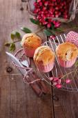 Berry muffins on a rustic dark wooden background  — Stock Photo