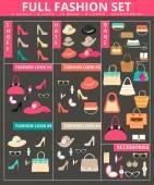 Полная Женская мода коллекции сумок, обувь, головные уборы и аксессуары — Cтоковый вектор